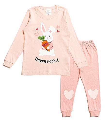 Nuribom Schlafanzug für Jungen und Mädchen - Kinder Baumwolle Pyjama (süßen Hasen, 122)
