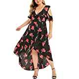 Pitashe Damen Kleider Sommer Kleider Frauen Große Größe Blumen Gedruckt Kleid, Reizvolle V-Neck Maxikleid | Abend Party Boho Kleid | Strandkleid | Cocktailkleid Elegant Lose Boho Lang Maxi Kleid