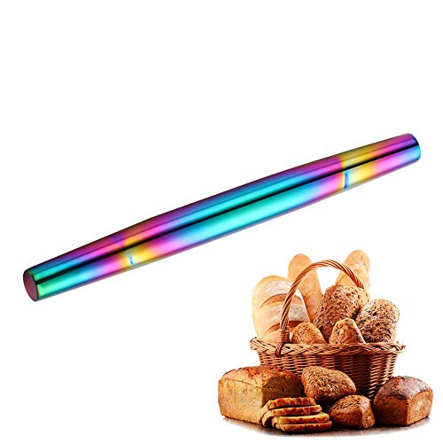 13' Stainless Steel rainbow Rolling Pin, Smooth No Stick Surface, Perfect for Baking, Pie Crust, Cookie, Pastry, Pasta, Pizza Dough (Rainbow colors)
