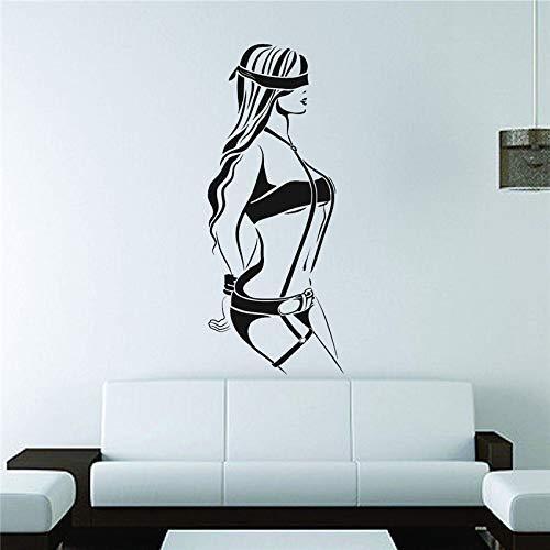 Wandaufkleber Wand Vinyl Aufkleber Aufkleber Dekoration Schatten Mädchen Handschellen Compliance Kunst Abnehmbare Aufkleber 104X43Cm