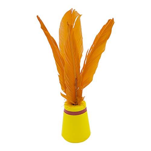 Softee Equipment INDIAKA - Pluma Natural con Base EN PU Foam NO TOXICO - Color Verde Y Naranja