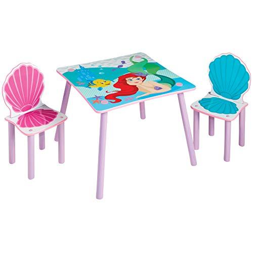 Disney Princesas Ariel-Conjunto Infantil de Mesa y Dos sillas, 52.5x63x63x