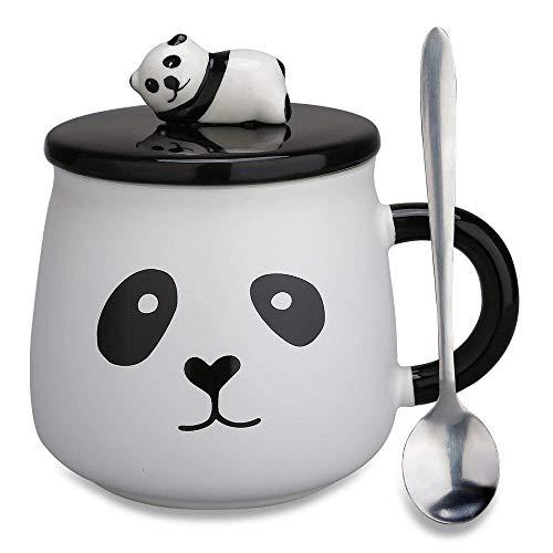 Doublewhale Panda Tasse,Geschenk für Mama,14oz/400ml Kaffeebecher 3D Muttertagsgeschenk Muttertag Kaffeetasse mit Löffel Deckel Tee Cup