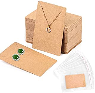 100 Pack Earring Cards+200 Pcs Self-Sealing Bags, Kraft Paper Necklace Display Cards and Earring Card Holder, Hanging Earring Cards for Earrings and Necklace