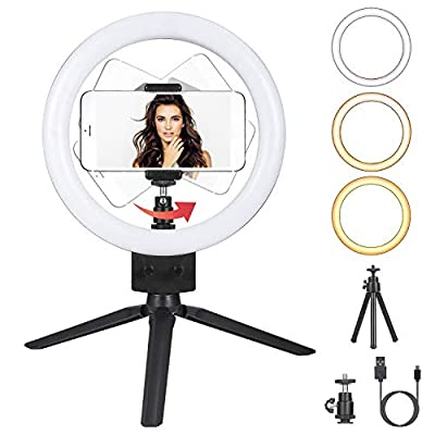 Dimmable LED Ring Light with Tripod Phone Selfie Camera Studio Desktop LED Beauty Camera Ring Light 3 Lighting Modes 10 Brightness Levels Photo Video Makeup Lamp for Live Stream, Video Recording from KOCASO