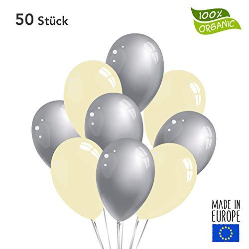 50 Premium Luftballons in Silber/Creme - Made in EU - 100% Naturlatex somit 100% giftfrei und 100% biologisch abbaubar - Geburtstag Party Hochzeit Silvester Karneval - für Helium geeignet - twist4®