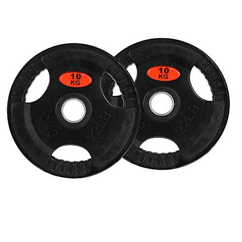LOEFME Olympic Bumper Weight Plates Set 2.5kg,5kg,10kg,15kg (Choice of Sizes) for 2' Dumbbell Handle Bar Body Fitness   Perfect Home Gym Equipment (15kg*2)