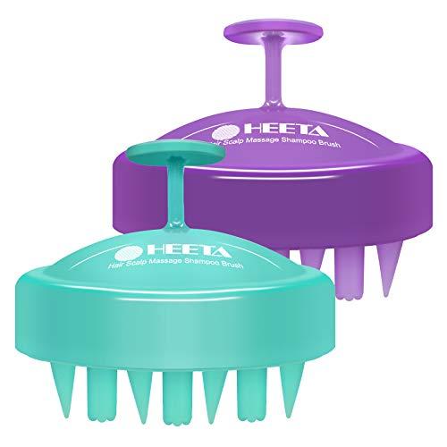 HEETA 2-Pack Hair Scalp Shampoo Massager Brush, Updated Soft Silicone Hand-Held Massager for Wet and Dry - Scalp Care Head Massager Brush for Women, Men and Kids (Green & Purple)