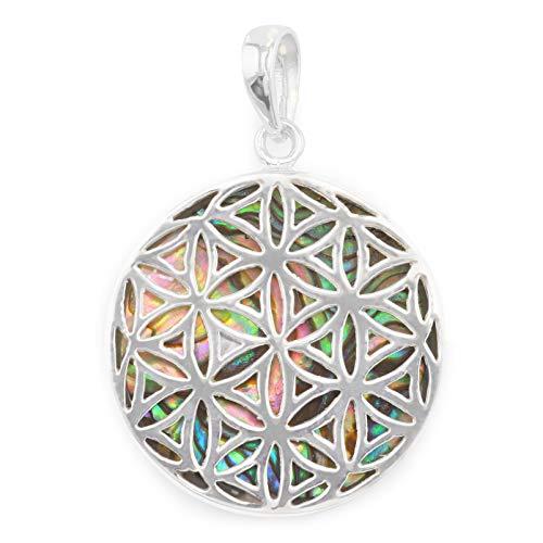 Monkimau Damen Anhänger Lebensblume aus 925 Sterling Silver echt Silber mit Perlmutt