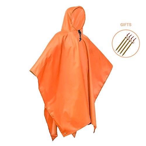 aimdonr impermeabile, Giacca da pioggia Poncho leggero ripstop Cappuccio Picnic pioggia Fly Zaino Cover riutilizzabile Bar Blu/Arancione/Unisex