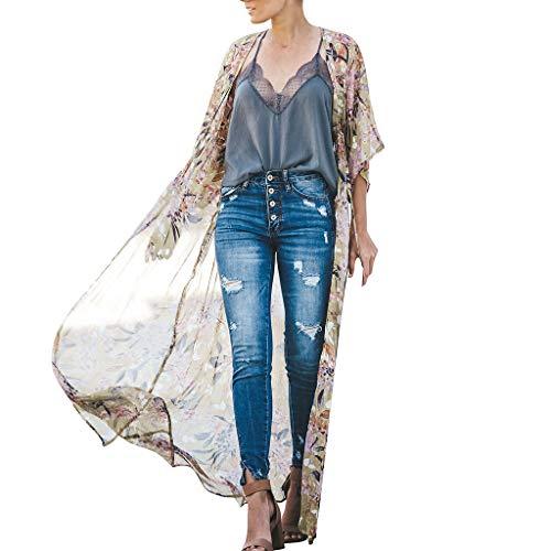 DEELIN Kimono Mujer Estampado Floral Chiffon Kimono Largo Cardigan Blusa Chal Suelto Tops Outwear Ropa De Playa