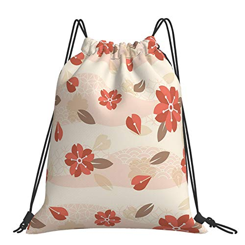 Mochila con cordón, diseño vintage, geométrico, diseño de flores de ciruelo, mochila con cordón, para deportes al aire libre y bolsa de viaje de fitness