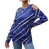 Esque Camiseta De Manga Larga con Hombros Descubiertos A Rayas para Mujer- Moda Casual Superior-Mujeres T6Ops Impreso Fuera del Hombro Larga-Casual- Blusa- Moda-Franjas Verticales-Azul-S