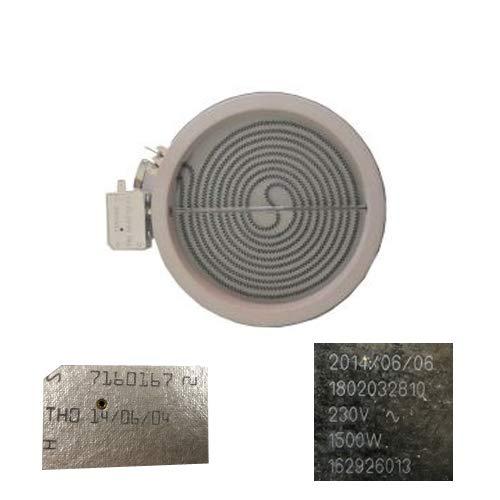 Resistencia Vitro Beko 64402E 18cms 7160167, 1802032810, 1500W Despiece de vitrocerámica Nueva...