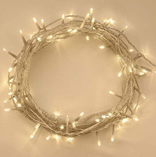 ANSIO String Lights 100 LED 10m/32ft Fairy Lights Plug in, Indoor Outdoor Christmas Tree Lights String Lights, Outside Lights for Xmas/Home/Party/Christmas Decorations Warm White – Clear Cable