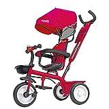 Globo Triciclo in Metallo a Pedali con Parasole Rosso