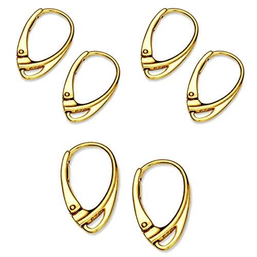 My-Bead 3 paia orecchini monachella chiusura argento 925 placcato oro leverback clip 18mm alta qualità da gioielliere DIY