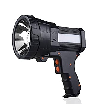YIERBLUE Rechargeable spotlight Super Bright 6000 Lumen LED Flashlight Handheld spotlight 10000mAh Long Lasting Large Flashlight Searchlight and Flood Camping Flashlight with Foldable Tripod  Black