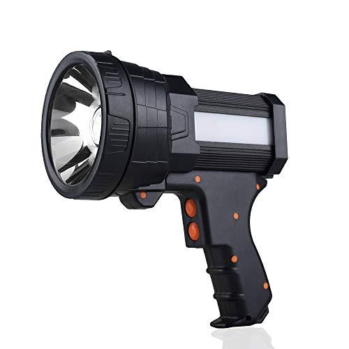 YIERBLUE Rechargeable spotlight, Super Bright 6000 Lumen LED Flashlight Handheld spotlight 10000mAh Long Lasting Large Flashlight Searchlight and Flood Camping Flashlight with Foldable Tripod (Black)