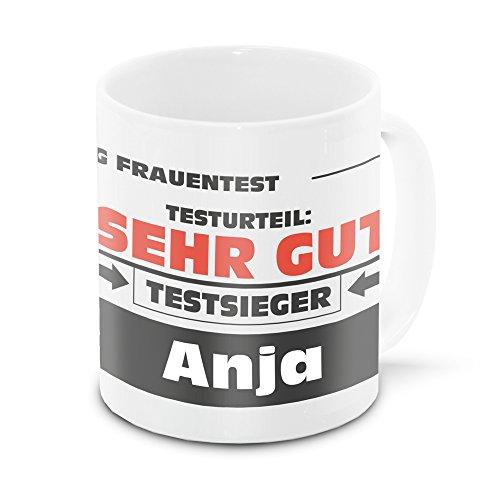 Namens-Tasse Anja mit Motiv Stiftung Frauentest, weiss | Freundschafts-Tasse - Namens-Tasse