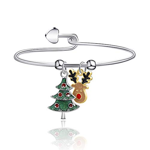 Izpack Elk Reindeer and Christmas Tree Charm Bracelet Bangle Love Heart Open Cuff Wrap Link Wire Cute Dangling Charm Bracelets Thanksgiving Xmas Holiday Jewelry Gifts for Women Girls BFF
