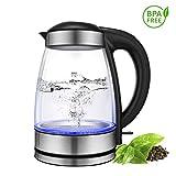 CUSIBOX Glas Wasserkocher 1,7 Liter Edelstahl Wasserkessel Teekocher 2200W Elektrische Kanne mit LED...