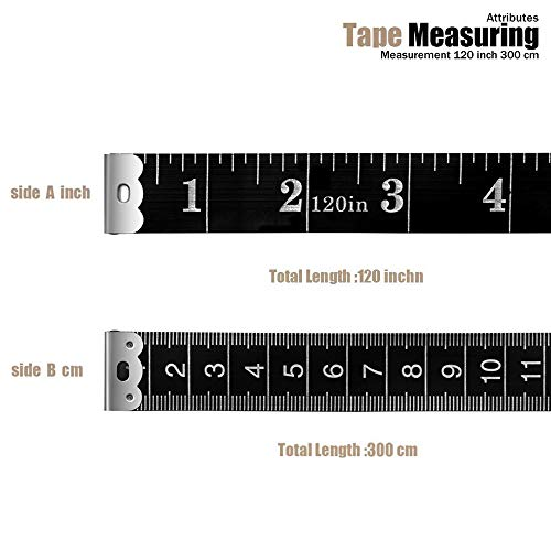 BUSHIBU Sewing Tape Measure, 120 Inch Soft Measuring Tape Cloth for Body Measurements Sewing Height Weight Loss Clothes, Pack of 2, Black