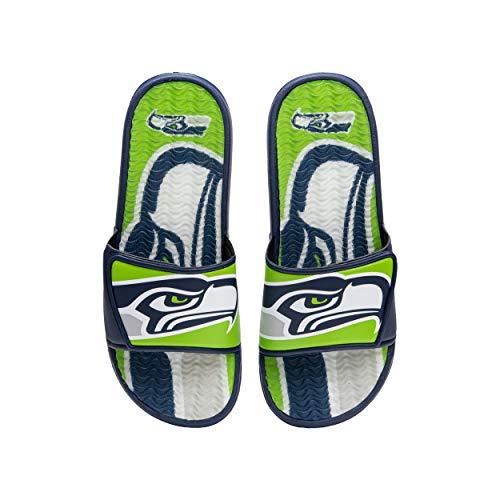 FOCO NFL Seattle Seahawks Herren Sport Shower Gel Slide Flip Flop Sandalen, Sport Shower Gel Slide Flip Flop Sandalen, Colorblock Big Logo, Small (7-8) (FFSSNFCBBLGGEL)