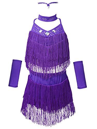 Alvivi Vestido de Danza Latina para Nia Ropa de Baile Vestido Flecos de Baile Latino Tango Salsa Rumba Disfraz de Bailarina Morado A 9-10 aos