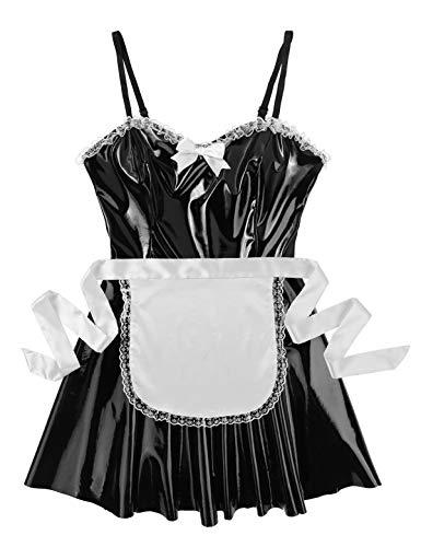 MSemis 3Pcs Damen Kostüm Dienstmädchen Lack Leder Kleid Cosplay Uniform Dessous Set Minikleid, Satin Schürze, Halsband Clubwear Gr. S-XL Schwarz Träger Kleid L