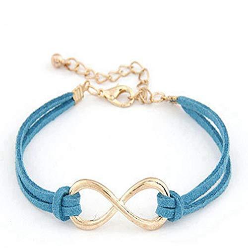 LLXXYY Lederen Armband, Lederen Bangle Goud Infinity Trendy Retro Handgemaakte Kreeft Gesp Blauw Sieraden Accessiors Vrouwen Gift Party Strand