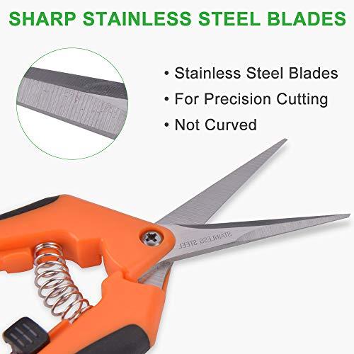 GROWNEER 3 Packs Pruning Shears Gardening Hand Pruning Snips with Straight Stainless Steel Precision Blades