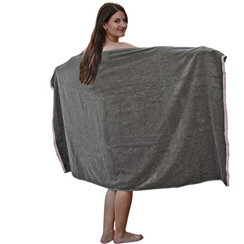 HOMELEVEL Toalla XL para sauna, baño, spa, algodón, 180 x 100 cm, color gris oscuro y rosa
