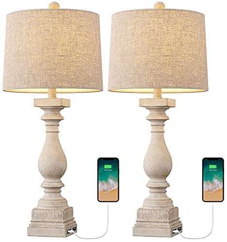 BOBOMOMO 27.75'' USB Table Lamp with 2 Charging Ports Set of 2 Antique Nightstand Lamp for Bedroom Living Room Farmhouse Office Retro Rustic Resin Classic Bedside Desk Lamps Washed White