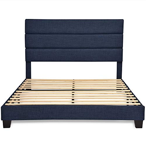 Queen Size Fabric Bed Frame with Headboard/Upholstered Platform Bed Frame with Strong Wood Slat Support/Mattress Foundation No Box Spring Needed,Navy Blue