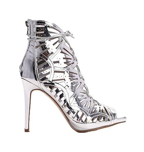 Damen Designer Schnürsandaletten Sandalen Pumps High Heels Schuhe (39, Silber)