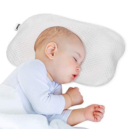 ARGCONNER Baby Pillow for Newborn Infant, Head Shaping Pillow for Flat Head Syndrome Prevention, Memory Foam Infant Neck Support Sleeping Pillow White