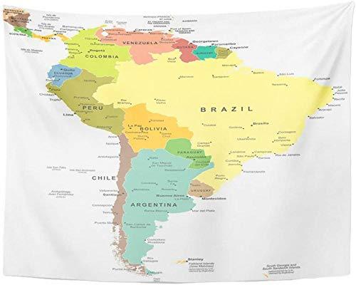 Tapiz de mapa de América del Sur Central decoración del hogar colgante de pared para sala de estar dormitorio dormitorio 150x100cm/59x39inchch