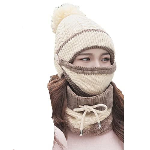 Gorro De Punto para Mujer De Invierno Gorro De Invierno Grueso Más Cachemir Cálido Bufanda De Lana De Otoño Cubierta De Bola Collar De Oreja Tres Juegos-Caqui, Talla Única