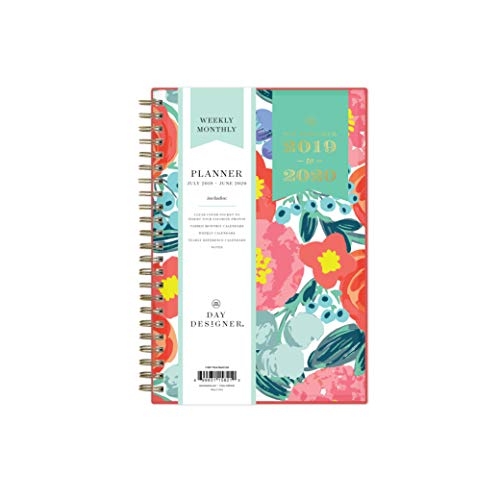 "Day Designer for Blue Sky 2019-2020 Academic Year Weekly & Monthly Planner, Flexible Cover, Twin-Wire Binding, 5"" x 8"", Floral Sketch"