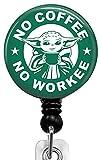 No Coffee no Workee Retractable Badge Reel with Alligator Clip,Name Nurse ID Card Badge Holder Reel, Decorative Custom Badge Holder