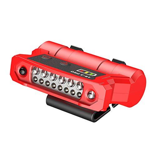 Porcyco Linterna frontal LED con sensor de movimiento, 200 lúmenes, 20 horas de duración, batería 18650, recargable por USB, impermeable, linterna para camping, senderismo, pesca (rojo)