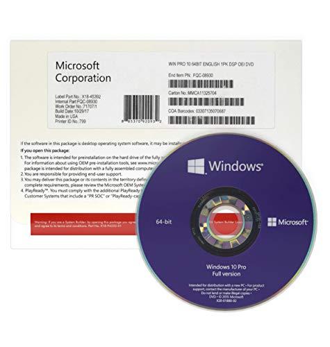 Windows 10 Pro 64 bits | OEM DVD | License Français | Windows 10 Professionnel 64 bits | Système d'exploitation 64bits