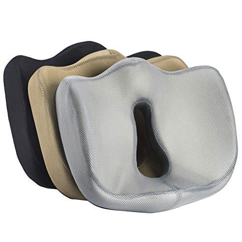 Sitzkissen aus 100% Memory-Schaumstoff - ergonomisch, Druckentlastung am unteren Rücken - Sitzen, Bürostuhl, gegen Schmerzen am Ischiasnerv - Schwarz
