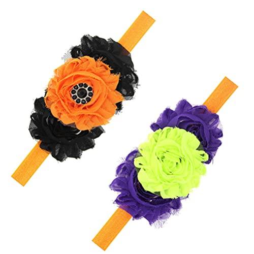 Lurrose Diadema de Halloween para Bebé Cinta Elástica para El Pelo de 2 Piezas de Flores para Niños Accesorios Florales para El Cabello para Niñas Toddle Bebé ( Estilo 1 )
