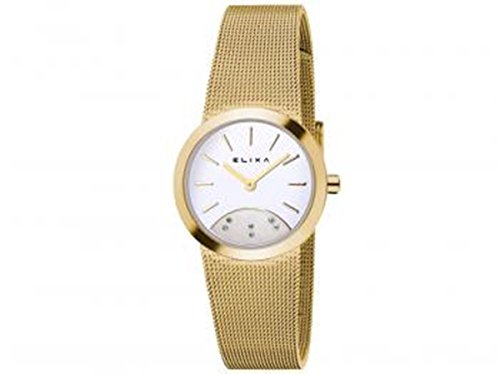 Elixa Damen-Armbanduhr nur Tempo Lady Trikot Milano Mesh Gold Silber Dial E076-L279