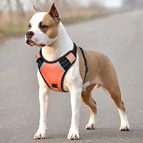 BABYLTRL Big Dog Harness No Pull Adjustable Pet Reflective Oxford Soft Vest for Large Dogs Easy Control Harness (M, Orange)