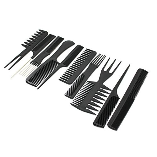 Chytaii 10pcs Peine Profesional Peluquero Accesorio de Peluquería Barberia Peine de Pelo cabello Conjunto de Peine 10 Piezas Negro