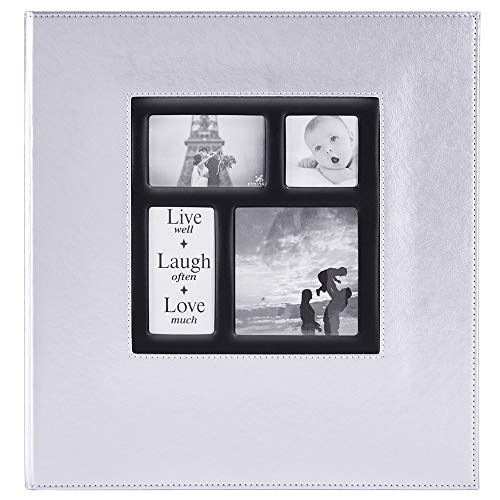 Ywlake Photo Album 1000 Pockets 6x4 Photos, Extra Large Size Leather Cover Slip in Wedding Family Photo Albums That Holds 1000 6x4 / 10x15cm Photos Pictures Silver