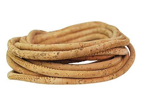 Korkschnur rund – 3 mm naturkorkfarben - Unikat - DIY basteln – Schmuck-Herstellung – ideal zum Nähen mit Kork – vegane Alternative zu Leder – Kork Band – Deko Schnur, Seil (3 mm) - 1 Meter lang